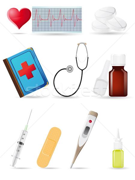 Ikon orvosi szett illusztráció orvos szív Stock fotó © konturvid