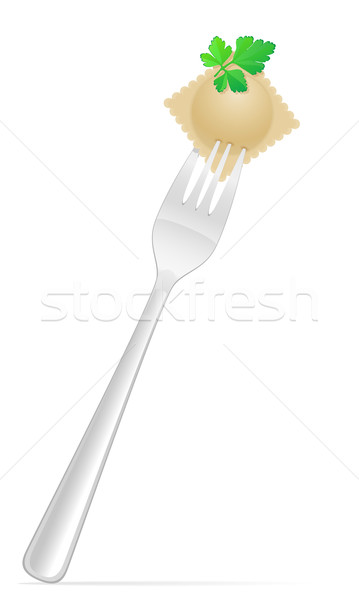 dumplings ravioli of dough with a filling and greens on fork vec Stock photo © konturvid