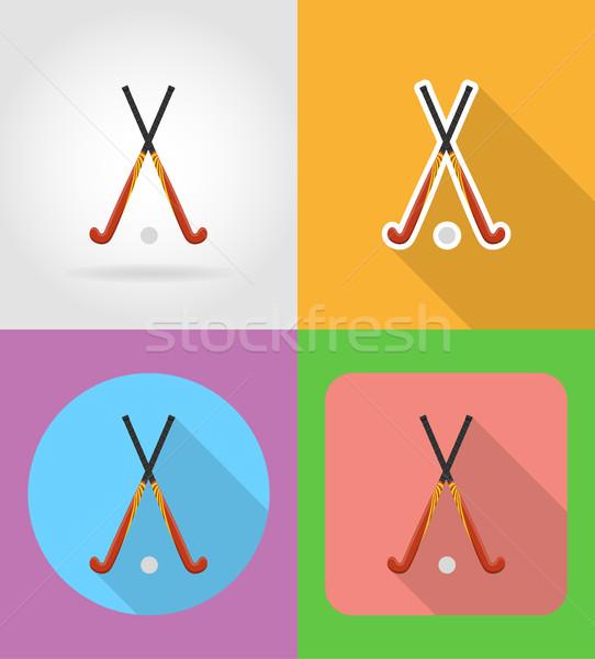 Hockey sport uitrusting iconen geïsoleerd fitness Stockfoto © konturvid