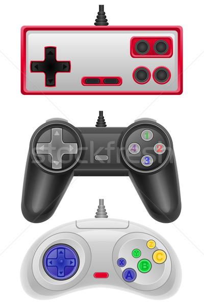 set icons joysticks obsolete for gaming consoles vector illustra Stock photo © konturvid