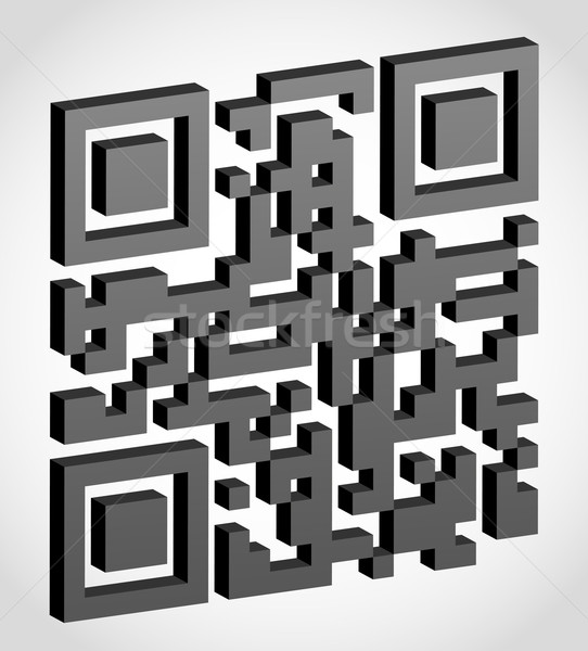 Abstract qr code 3D effect geïsoleerd witte Stockfoto © konturvid