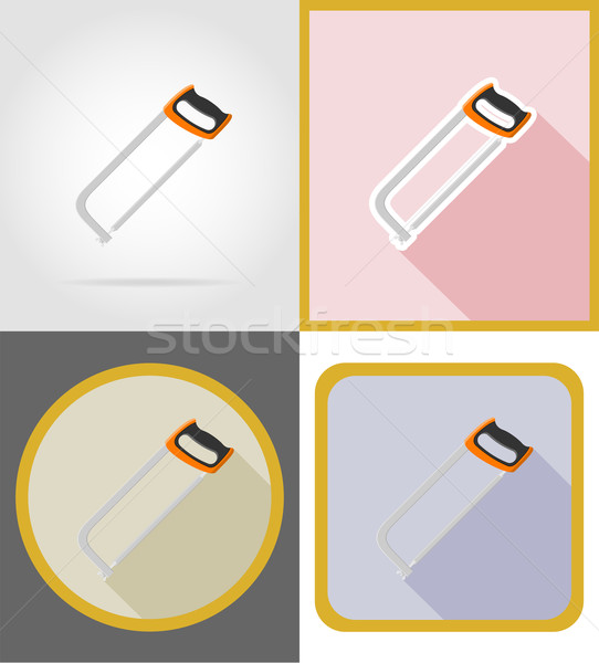 saw repair and building tools flat icons vector illustration Stock photo © konturvid