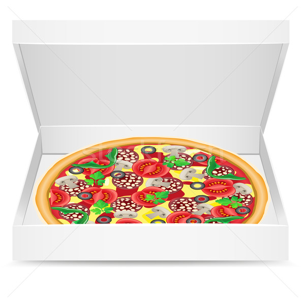 pizza is in a cardboard box Stock photo © konturvid