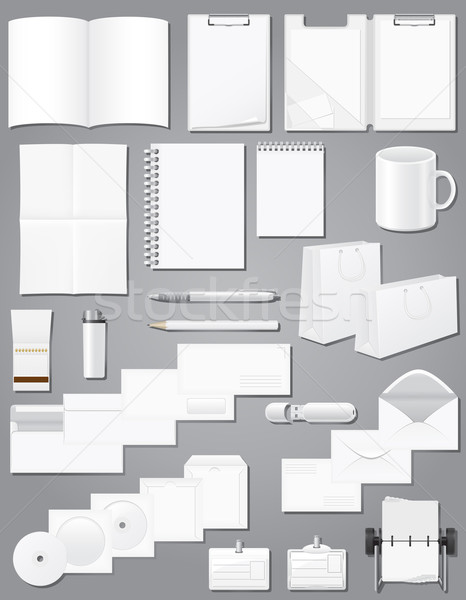 set icons white blank samples for corporate identity design vect Stock photo © konturvid