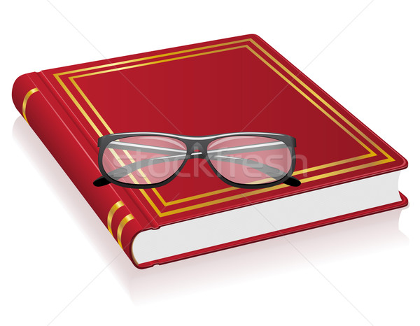 red book and glasses vector illustration Stock photo © konturvid