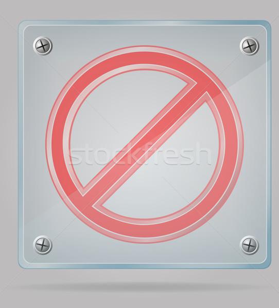 Trasparente divieto segno piatto isolato grigio Foto d'archivio © konturvid