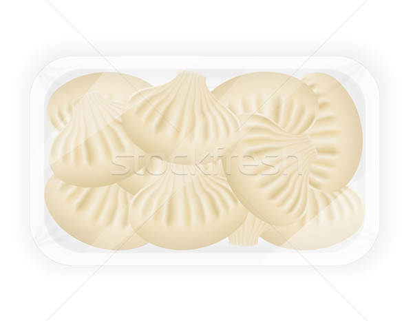 dumplings khinkali of dough with a filling in packaged vector il Stock photo © konturvid