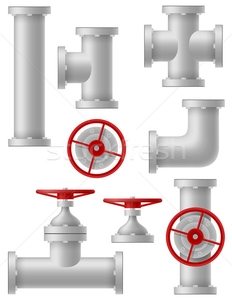 Stock photo: industry metalic pipes vector illustration