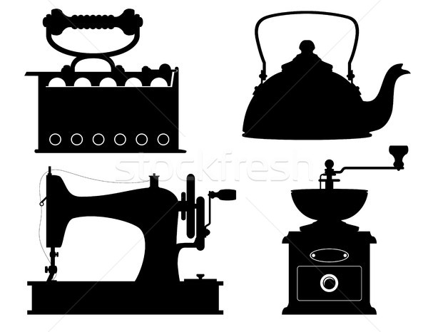domestic appliances old retro vintage set icons stock vector ill Stock photo © konturvid