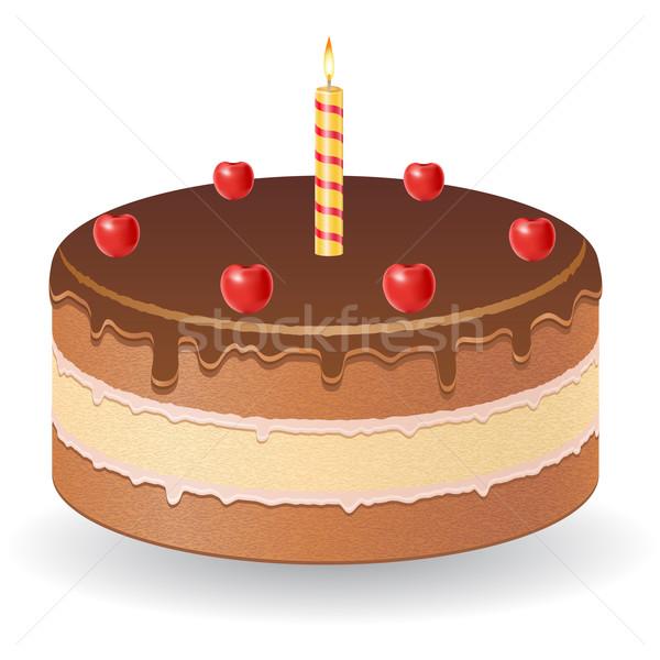 chocolate cake with cherries and burning candle vector illustrat Stock photo © konturvid