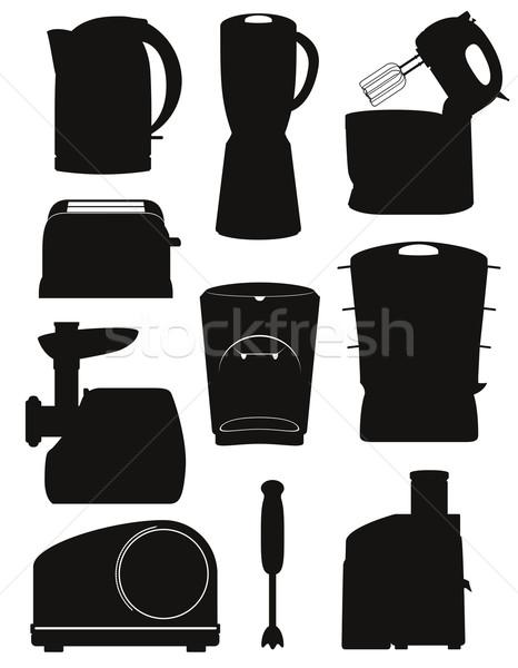 set icons electrical appliances for the kitchen black silhouette Stock photo © konturvid