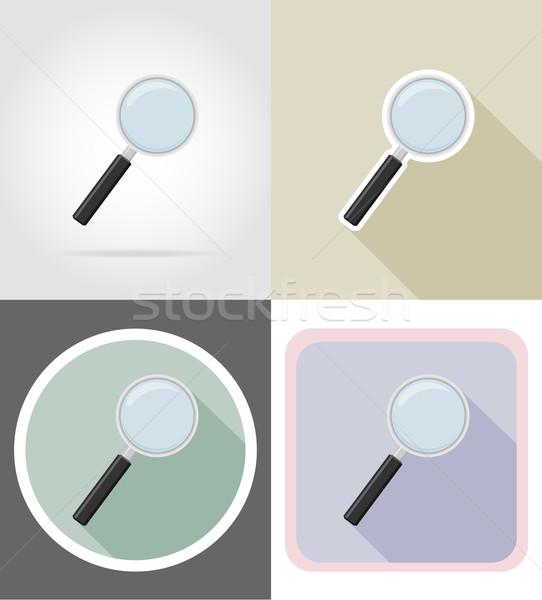 Lupa papelería establecer iconos vector Foto stock © konturvid