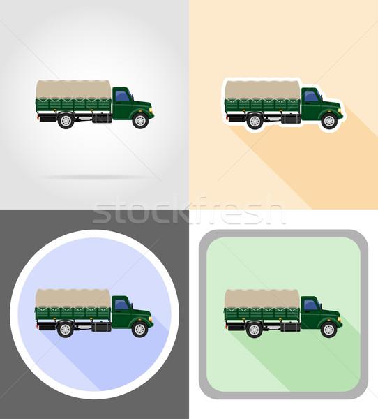 Carga caminhão transporte bens ícones vetor Foto stock © konturvid