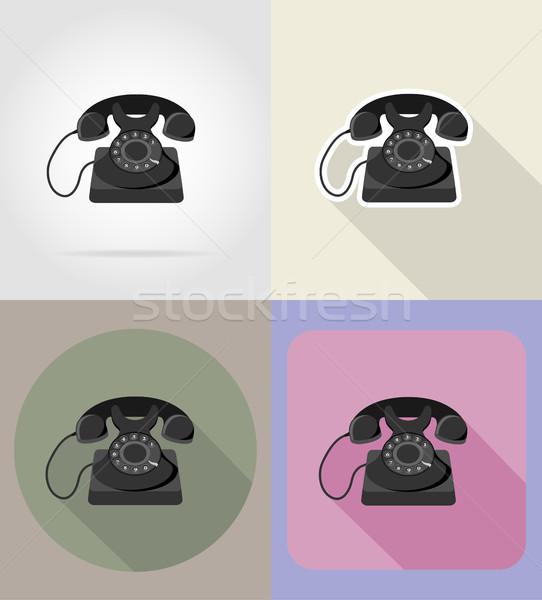 Edad retro vintage teléfono iconos aislado Foto stock © konturvid