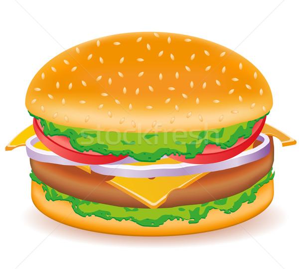 Cheeseburger isolado branco comida pão almoço Foto stock © konturvid