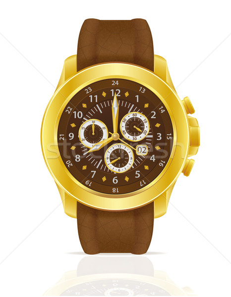 gold mechanical wristwatch watch with leather strap vector illus Stock photo © konturvid