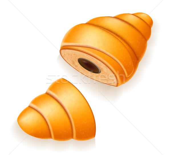 crispy croissant with the broken chocolate filling vector illust Stock photo © konturvid