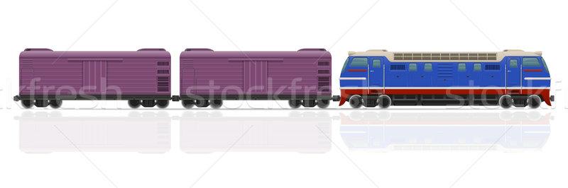 Vasút vonat mozdony izolált fehér út Stock fotó © konturvid