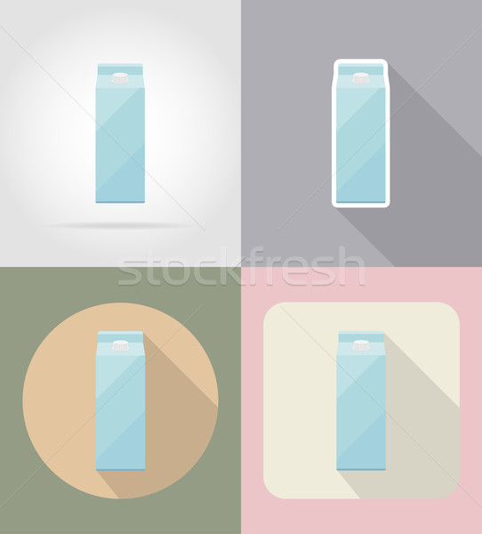 milk packaging drink and objects flat icons vector illustration Stock photo © konturvid