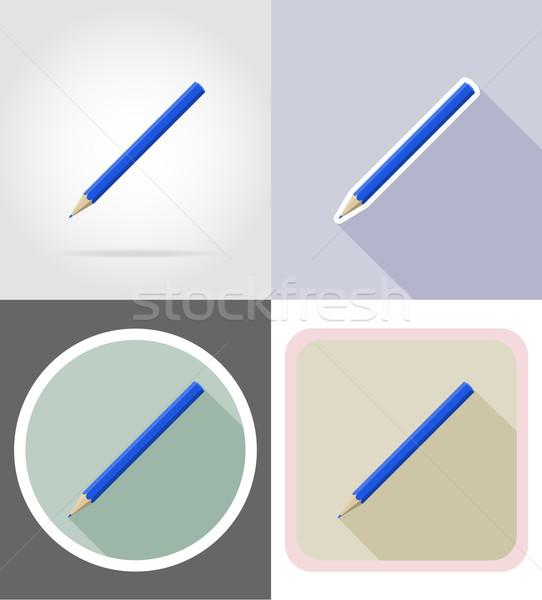 Kalem kırtasiye ayarlamak simgeler yalıtılmış Stok fotoğraf © konturvid