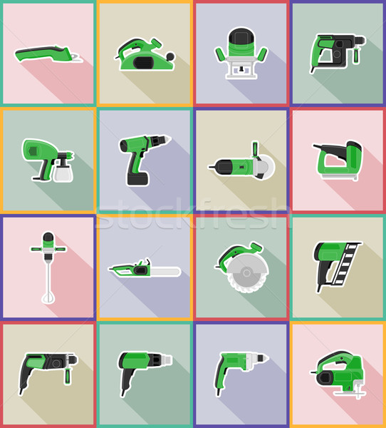 electric tools for construction and repair flat icons vector ill Stock photo © konturvid