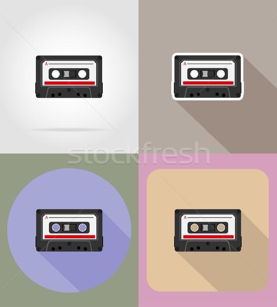 old retro vintage audiocassette flat icons vector illustration Stock photo © konturvid