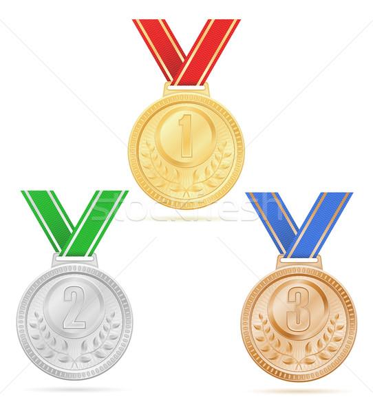 medal winner sport gold silver bronze stock vector illustration Stock photo © konturvid