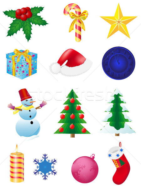 christmas and new year icons vector illustration Stock photo © konturvid
