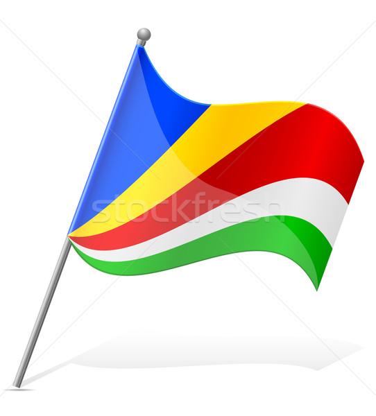 Zászló Seychelle-szigetek izolált fehér földgömb világ Stock fotó © konturvid