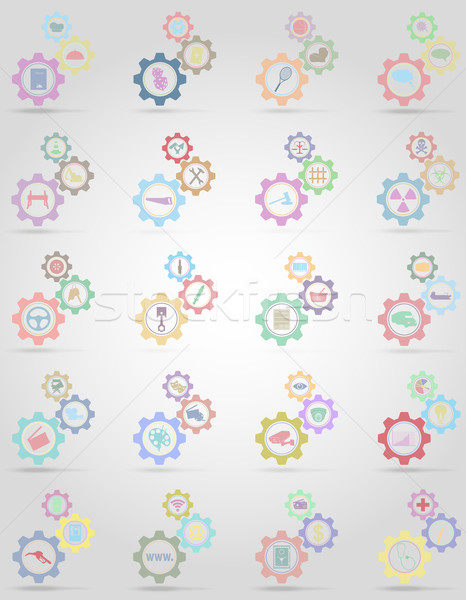 set icons information gear mechanism concept vector illustration Stock photo © konturvid