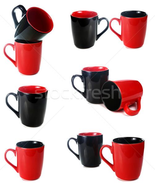 Siyah kırmızı fincan yalıtılmış beyaz arka plan Stok fotoğraf © konturvid
