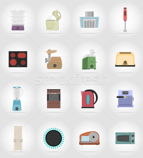 household appliances for kitchen flat icons vector illustration Stock photo © konturvid