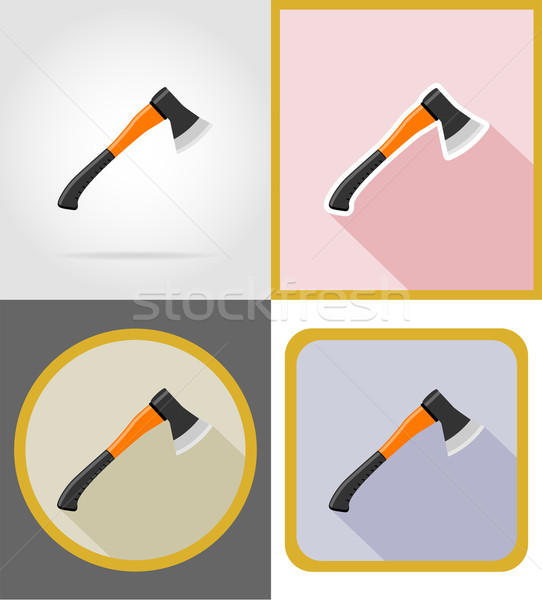 ax repair and building tools flat icons vector illustration Stock photo © konturvid