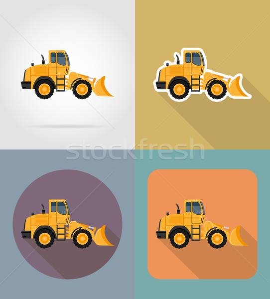 bulldozer for road works flat icons vector illustration Stock photo © konturvid