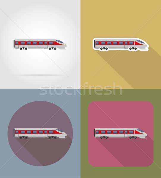 train flat icons vector illustration Stock photo © konturvid