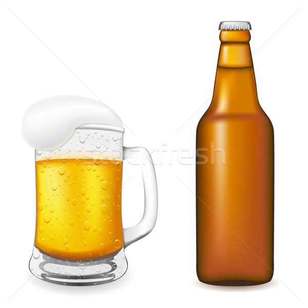 Photo stock: Bière · verre · bouteille · isolé · blanche · boire