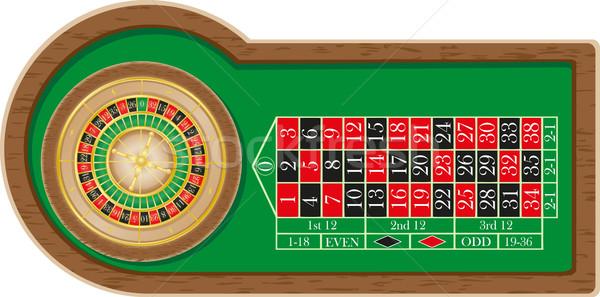 Ruleta casino aislado blanco marco verde Foto stock © konturvid