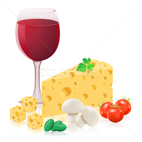 still life with cheese and wine vector illustration Stock photo © konturvid