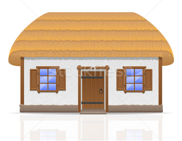ancient farmhouse with a thatched roof vector illustration Stock photo © konturvid