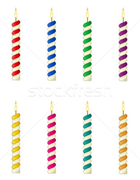 свечей именинный торт изолированный белый вечеринка огня Сток-фото © konturvid