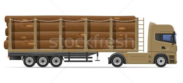 Vrachtwagen levering vervoer bouw bouwmaterialen geïsoleerd Stockfoto © konturvid