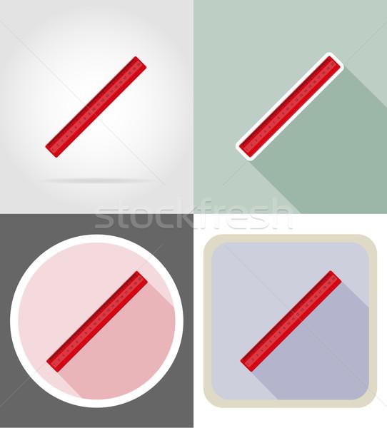Governante artigos de papelaria equipamento conjunto ícones isolado Foto stock © konturvid