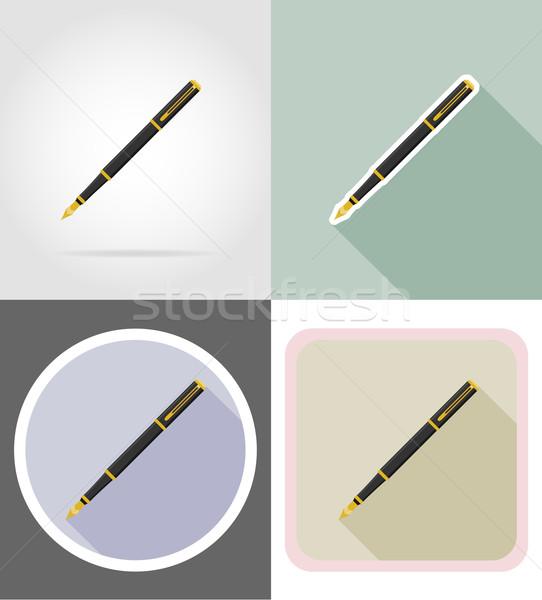 Pióro materiały biurowe wyposażenie zestaw ikona odizolowany Zdjęcia stock © konturvid