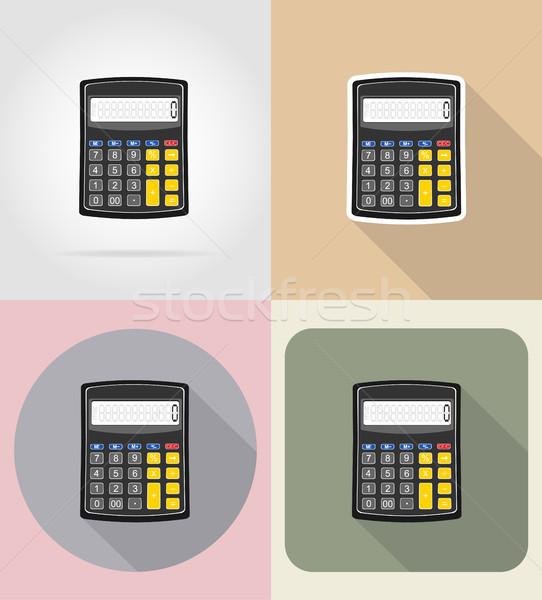 Calculator iconen geïsoleerd business kantoor achtergrond Stockfoto © konturvid