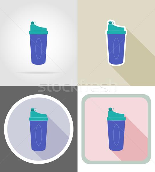 Shaker üveg fitnessz ikonok izolált egészség Stock fotó © konturvid