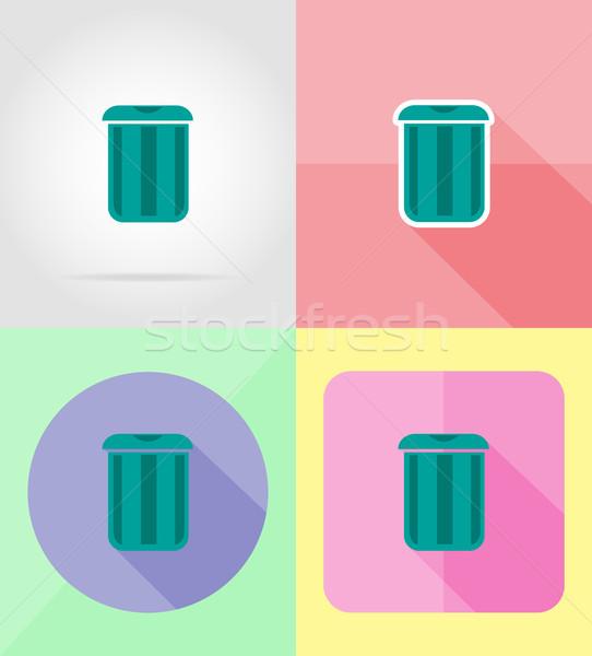 Cesto de lixo projeto ícones isolado internet fundo Foto stock © konturvid