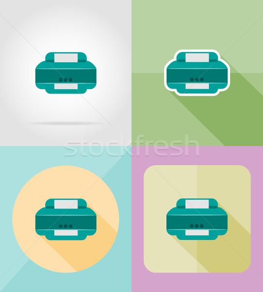 Serviço impressora ícones isolado negócio papel Foto stock © konturvid