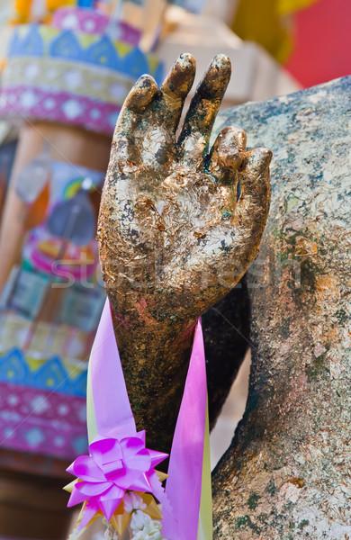 Foto stock: Buda · mão · viajar · grupo · ouro · piso