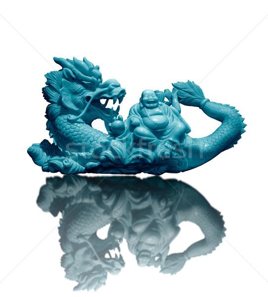 Fat Chinese God on Dragon Back Stock photo © koratmember
