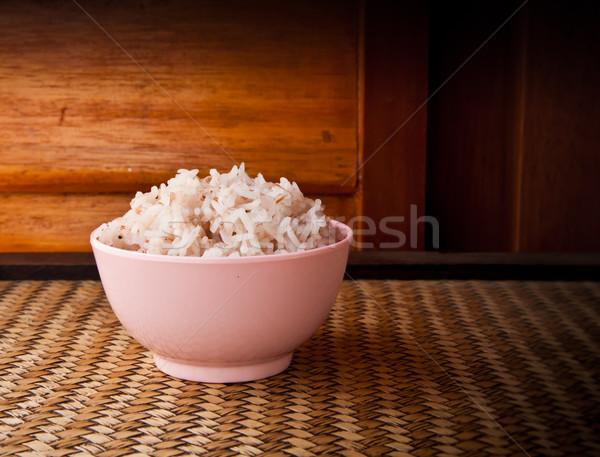 риса розовый чаши древесины фон Сток-фото © koratmember